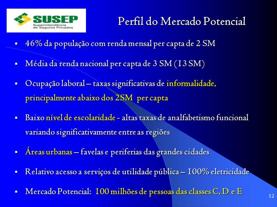 Perfil do Mercado Potencial 46% da população com renda mensal per capta de 2 SM 46% da população com renda mensal per capta de 2 SM Média da renda nac