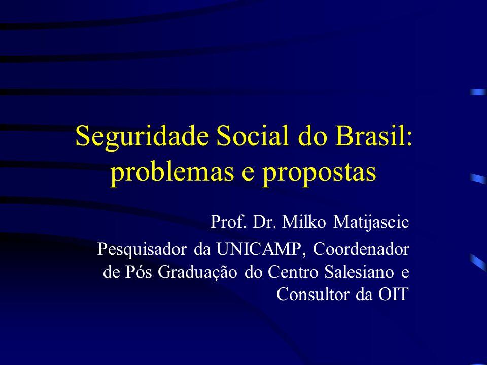 Seguridade Social do Brasil: problemas e propostas Prof. Dr. Milko Matijascic Pesquisador da UNICAMP, Coordenador de Pós Graduação do Centro Salesiano