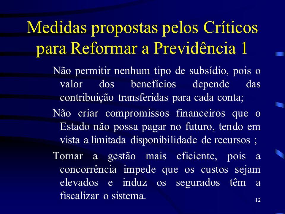 12 Medidas propostas pelos Críticos para Reformar a Previdência 1 Não permitir nenhum tipo de subsídio, pois o valor dos benefícios depende das contri