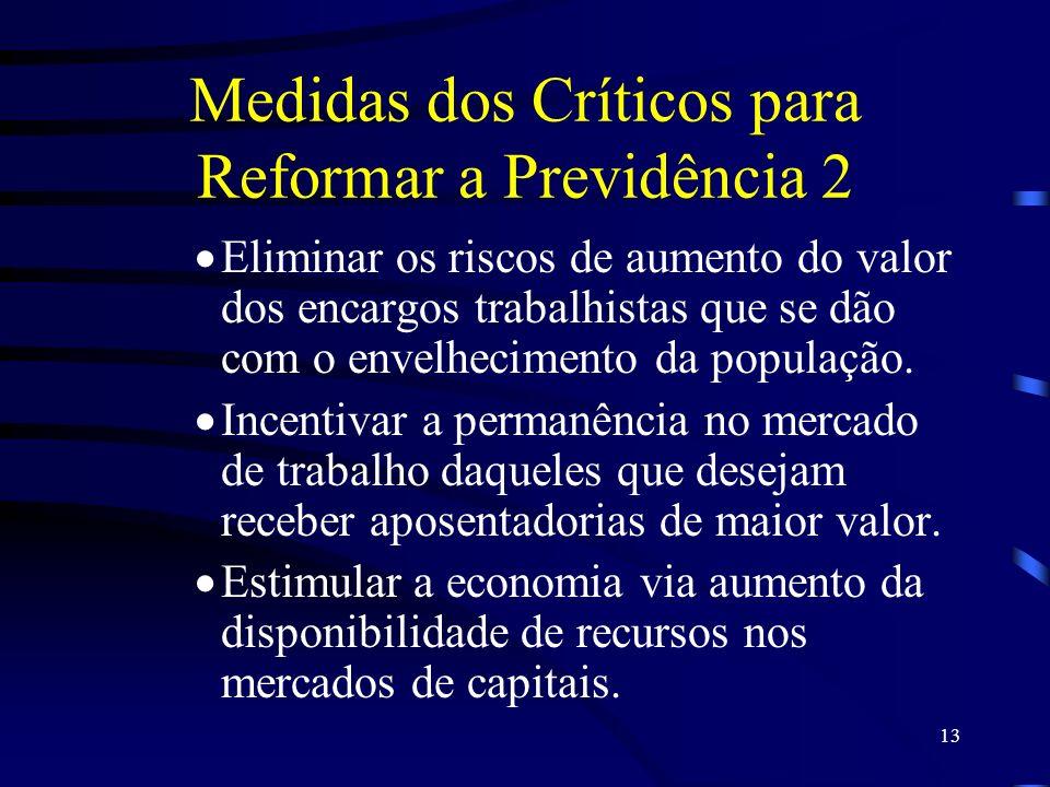 13 Medidas dos Críticos para Reformar a Previdência 2 Eliminar os riscos de aumento do valor dos encargos trabalhistas que se dão com o envelhecimento