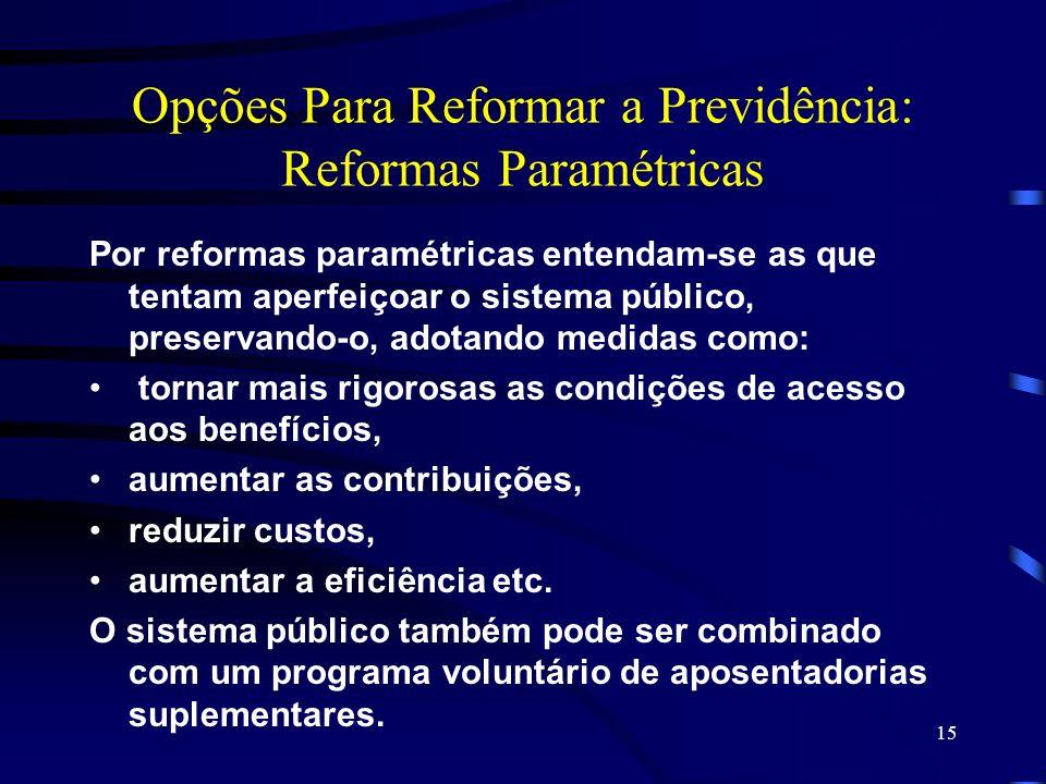 15 Opções Para Reformar a Previdência: Reformas Paramétricas Por reformas paramétricas entendam-se as que tentam aperfeiçoar o sistema público, preser