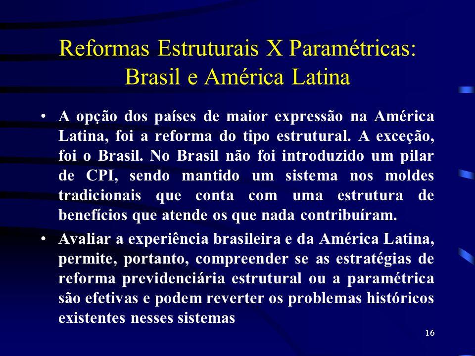 16 Reformas Estruturais X Paramétricas: Brasil e América Latina A opção dos países de maior expressão na América Latina, foi a reforma do tipo estrutu