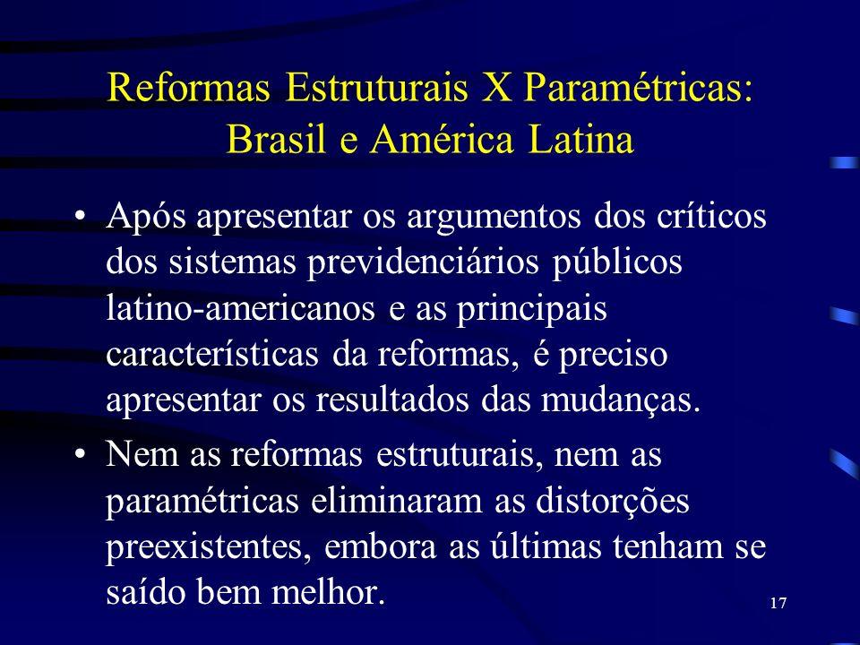 17 Reformas Estruturais X Paramétricas: Brasil e América Latina Após apresentar os argumentos dos críticos dos sistemas previdenciários públicos latin