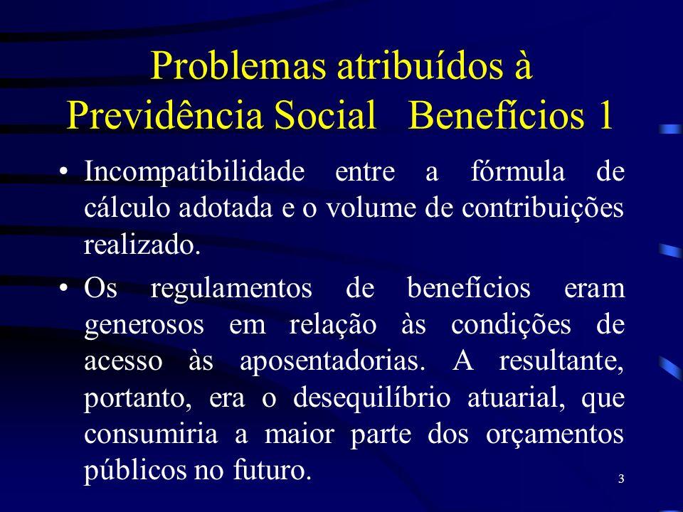 3 Problemas atribuídos à Previdência SocialBenefícios 1 Incompatibilidade entre a fórmula de cálculo adotada e o volume de contribuições realizado. Os