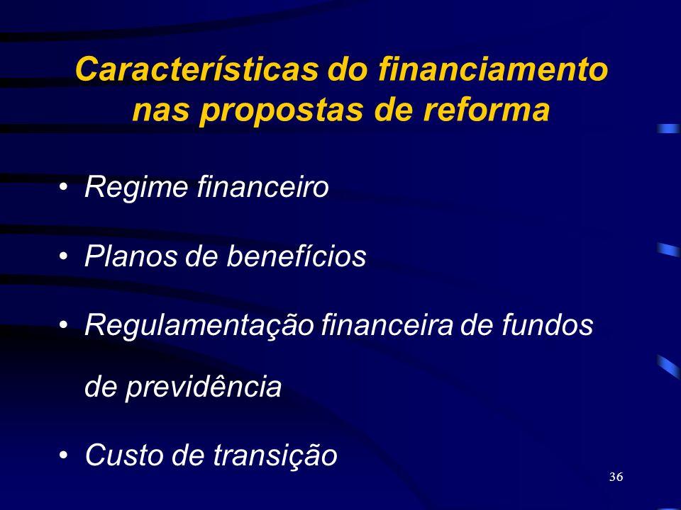 36 Características do financiamento nas propostas de reforma Regime financeiro Planos de benefícios Regulamentação financeira de fundos de previdência