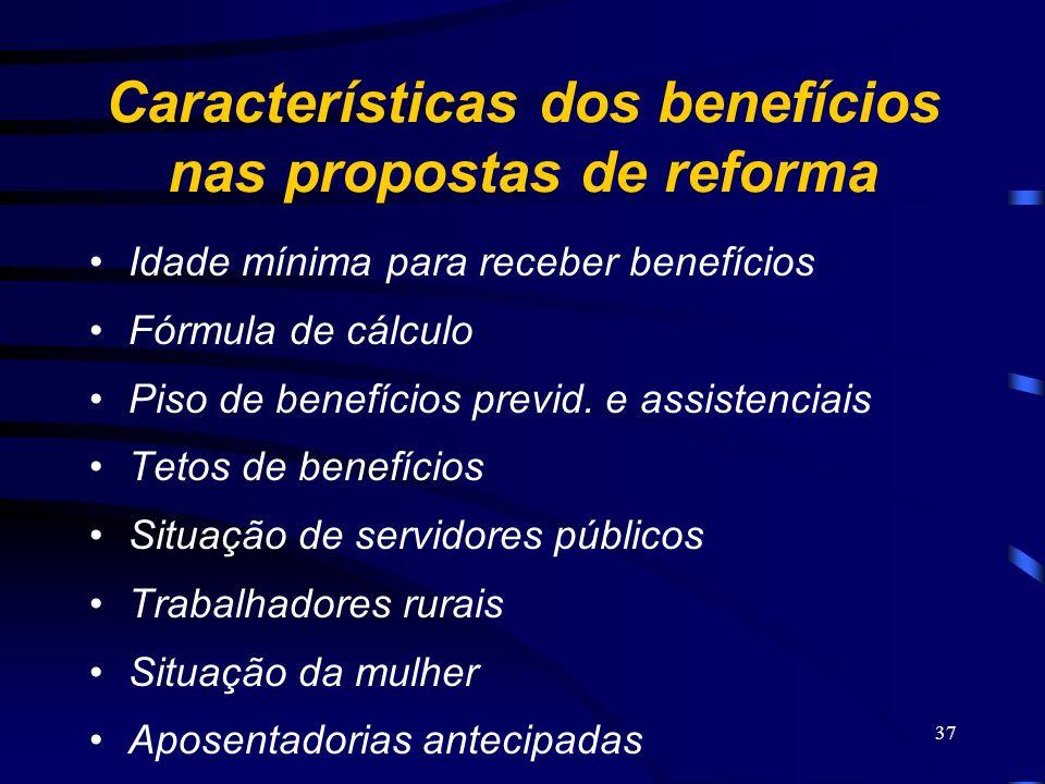 37 Características dos benefícios nas propostas de reforma Idade mínima para receber benefícios Fórmula de cálculo Piso de benefícios previd. e assist