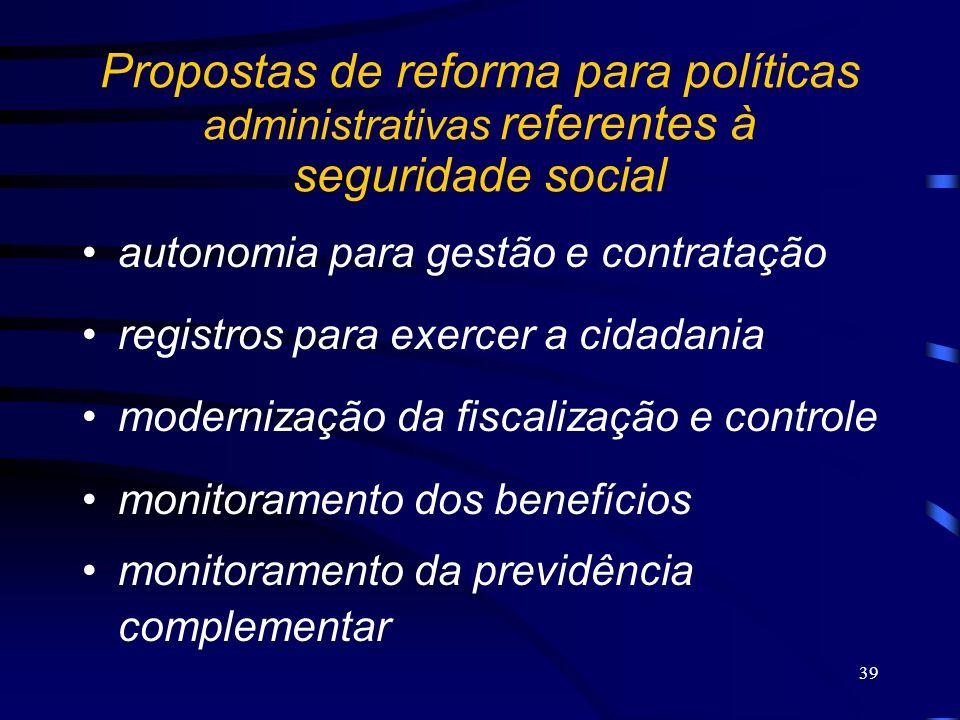 39 Propostas de reforma para políticas administrativas referentes à seguridade social autonomia para gestão e contratação registros para exercer a cid