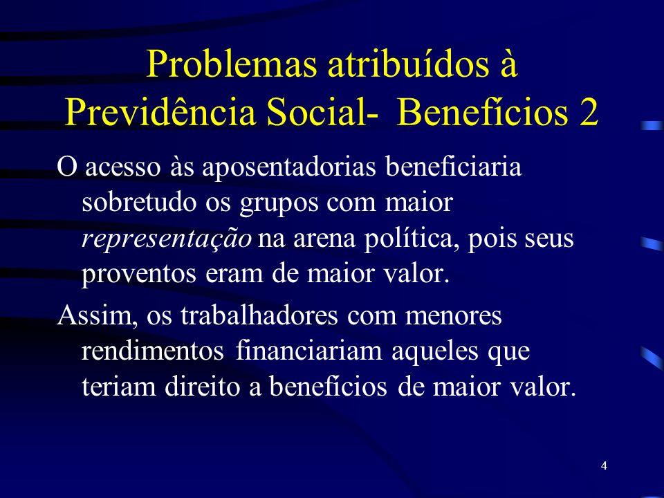 4 Problemas atribuídos à Previdência Social-Benefícios 2 O acesso às aposentadorias beneficiaria sobretudo os grupos com maior representação na arena