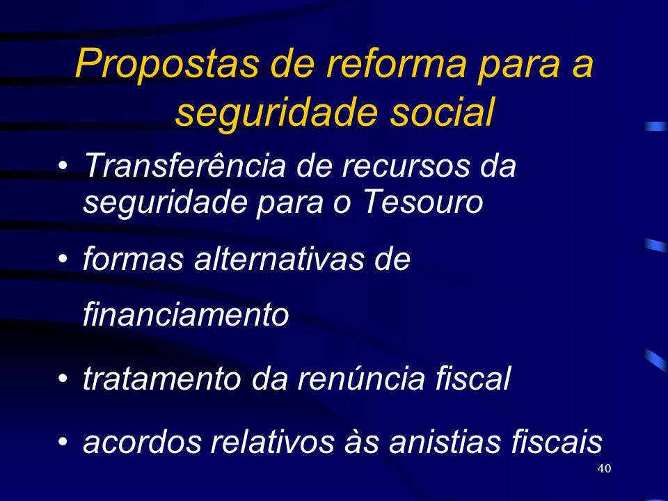 40 Propostas de reforma para a seguridade social Transferência de recursos da seguridade para o Tesouro formas alternativas de financiamento tratament