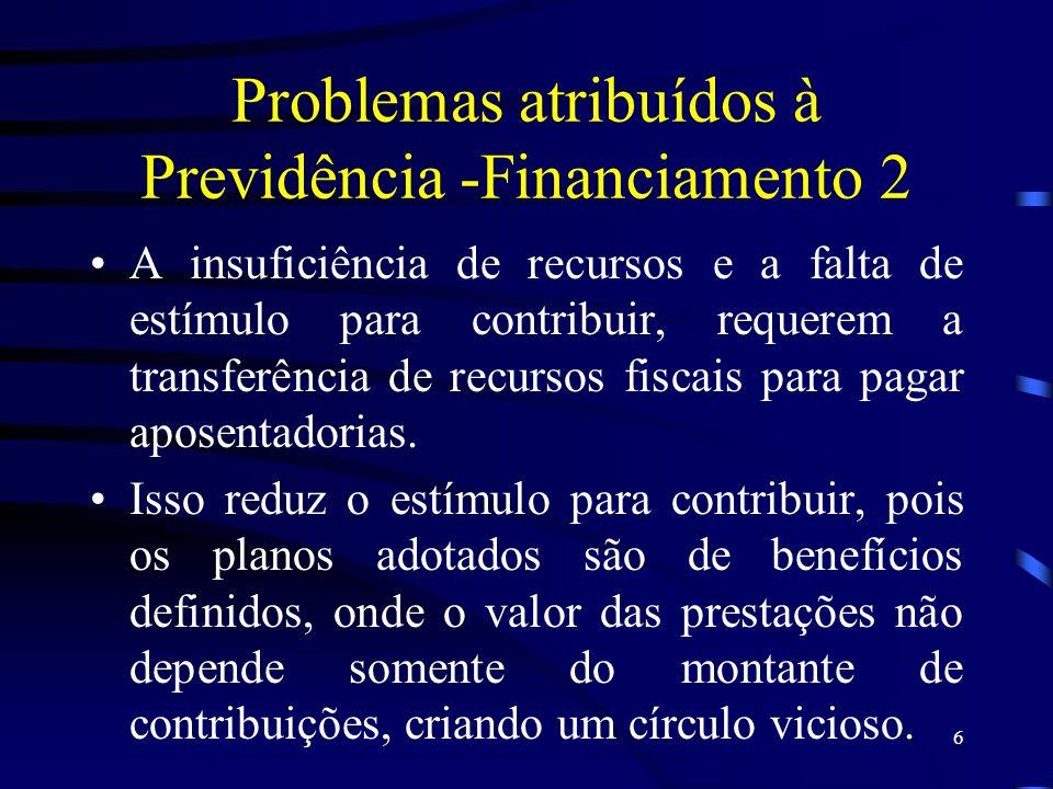 6 Problemas atribuídos à Previdência -Financiamento 2 A insuficiência de recursos e a falta de estímulo para contribuir, requerem a transferência de r