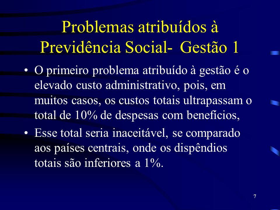 7 Problemas atribuídos à Previdência Social-Gestão 1 O primeiro problema atribuído à gestão é o elevado custo administrativo, pois, em muitos casos, o
