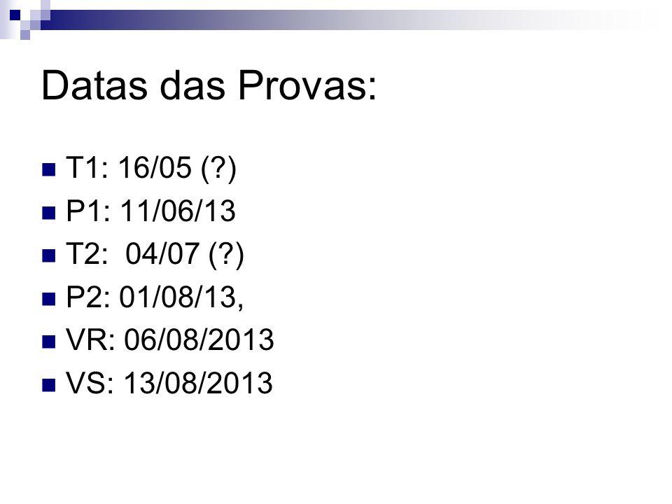 Datas das Provas: T1: 16/05 (?) P1: 11/06/13 T2: 04/07 (?) P2: 01/08/13, VR: 06/08/2013 VS: 13/08/2013