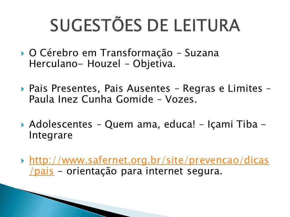 O Cérebro em Transformação – Suzana Herculano- Houzel – Objetiva. Pais Presentes, Pais Ausentes – Regras e Limites – Paula Inez Cunha Gomide – Vozes.