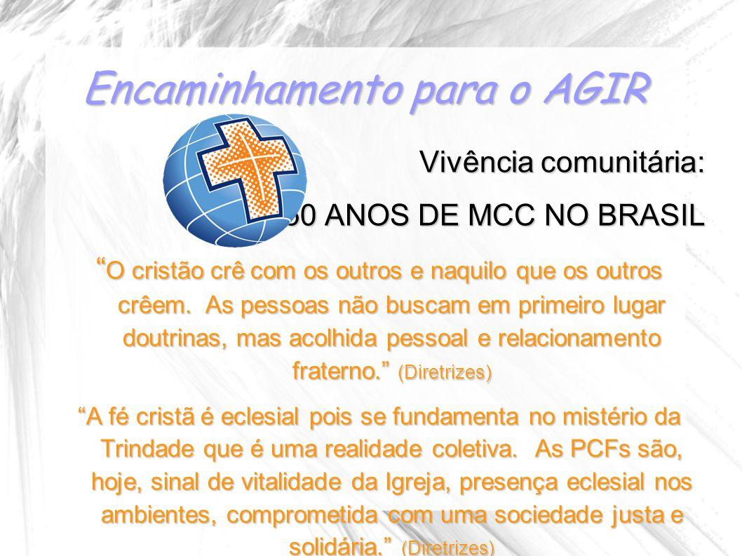 Encaminhamento para o AGIR Vivência comunitária: 50 ANOS DE MCC NO BRASIL O cristão crê com os outros e naquilo que os outros crêem. As pessoas não bu