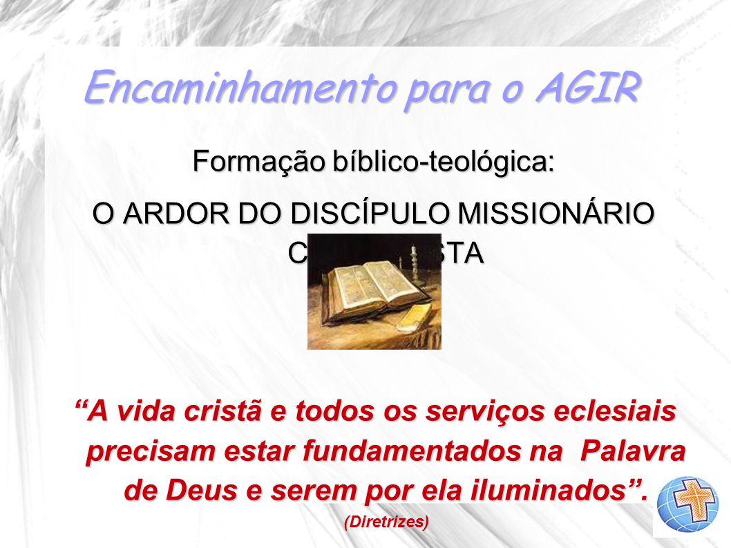 Encaminhamento para o AGIR Formação bíblico-teológica: O ARDOR DO DISCÍPULO MISSIONÁRIO CURSILHISTA A vida cristã e todos os serviços eclesiais precis