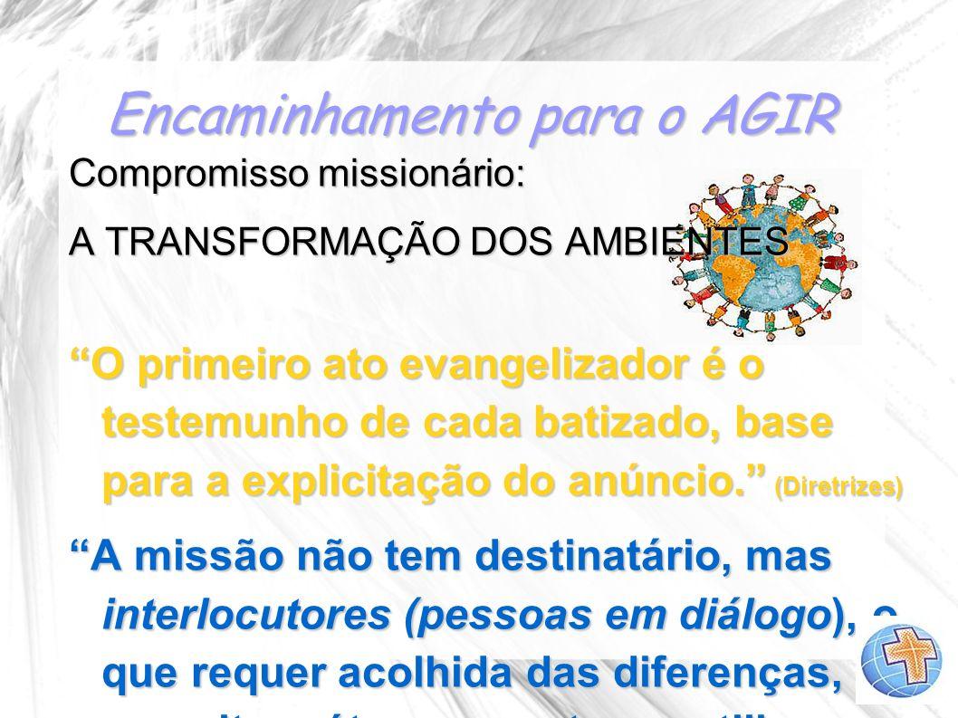Encaminhamento para o AGIR Compromisso missionário: A TRANSFORMAÇÃO DOS AMBIENTES O primeiro ato evangelizador é o testemunho de cada batizado, base p