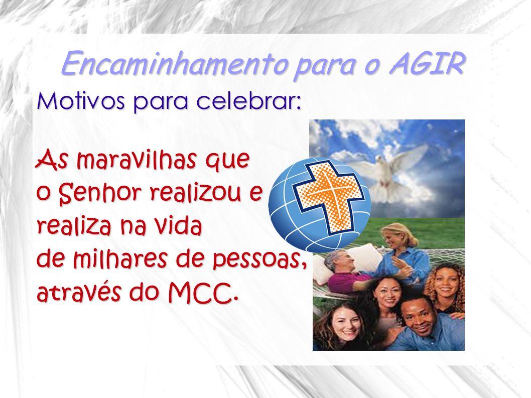 Encaminhamento para o AGIR Motivos para celebrar: As maravilhas que o Senhor realizou e realiza na vida de milhares de pessoas, através do MCC.