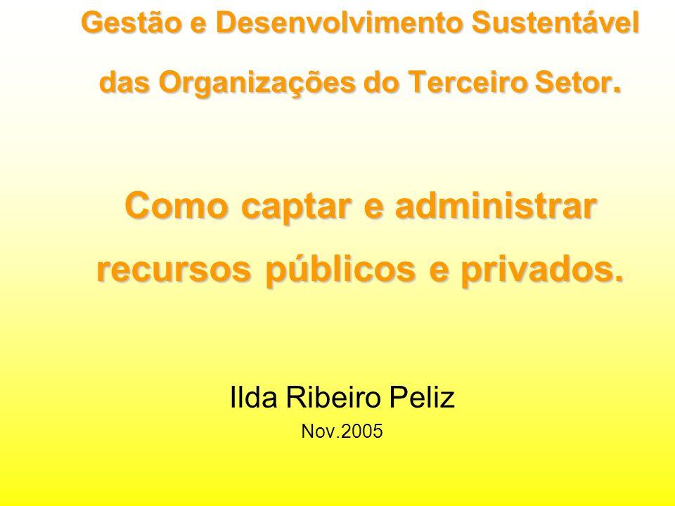 Gestão e Desenvolvimento Sustentável das Organizações do Terceiro Setor.