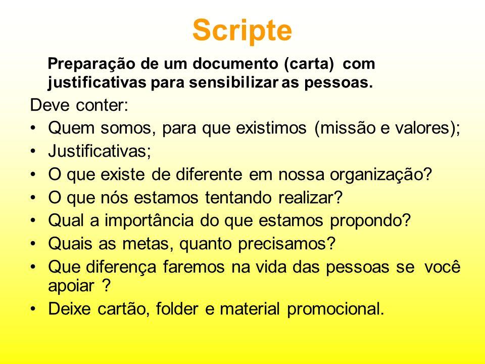 Scripte Preparação de um documento (carta) com justificativas para sensibilizar as pessoas.