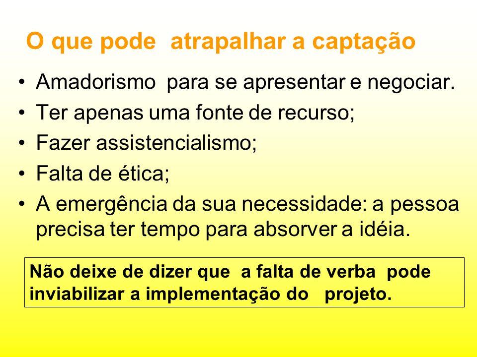 O que pode atrapalhar a captação Amadorismo para se apresentar e negociar.