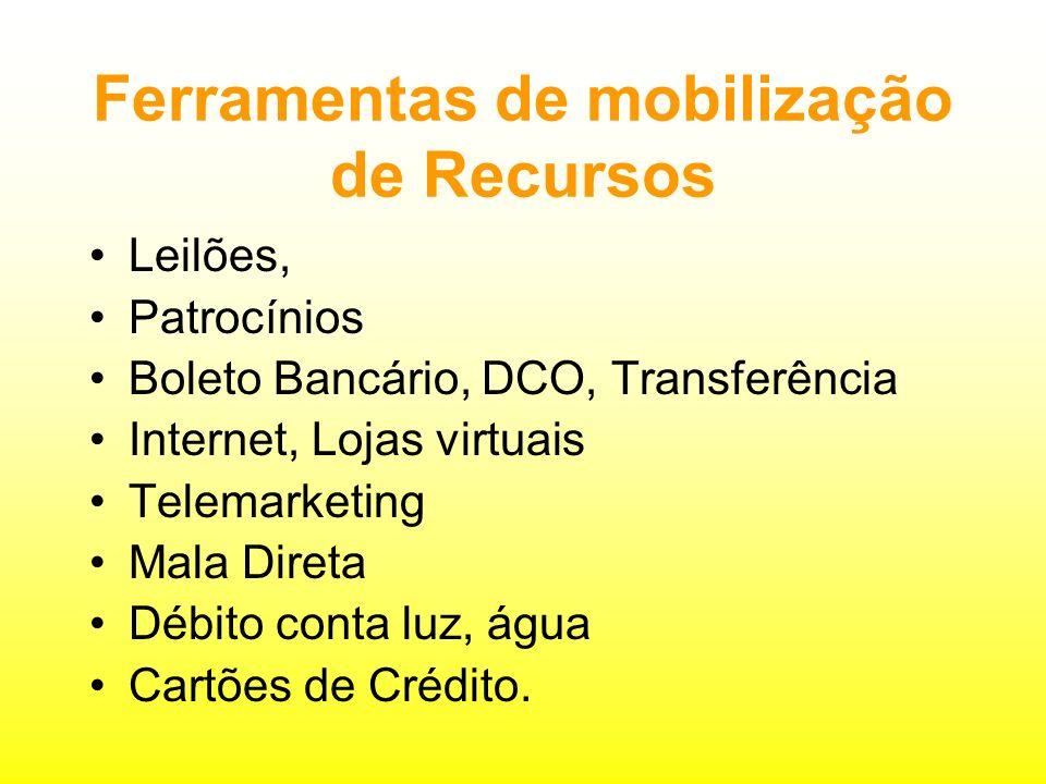 Ferramentas de mobilização de Recursos Leilões, Patrocínios Boleto Bancário, DCO, Transferência Internet, Lojas virtuais Telemarketing Mala Direta Débito conta luz, água Cartões de Crédito.