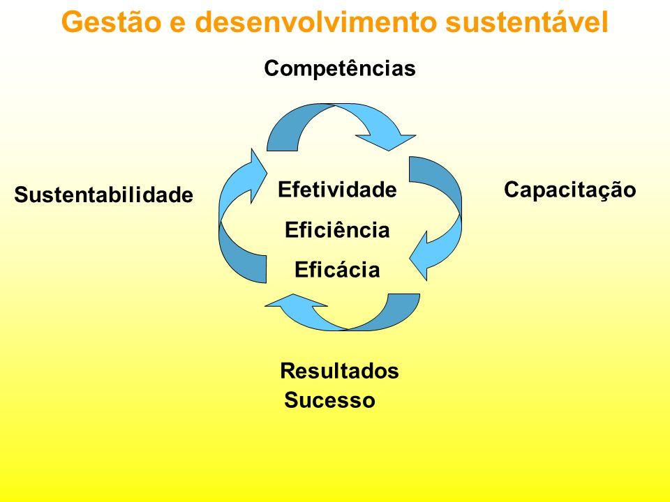 Gestão e desenvolvimento sustentável Capacitação Resultados Sucesso Sustentabilidade Efetividade Eficiência Eficácia Competências