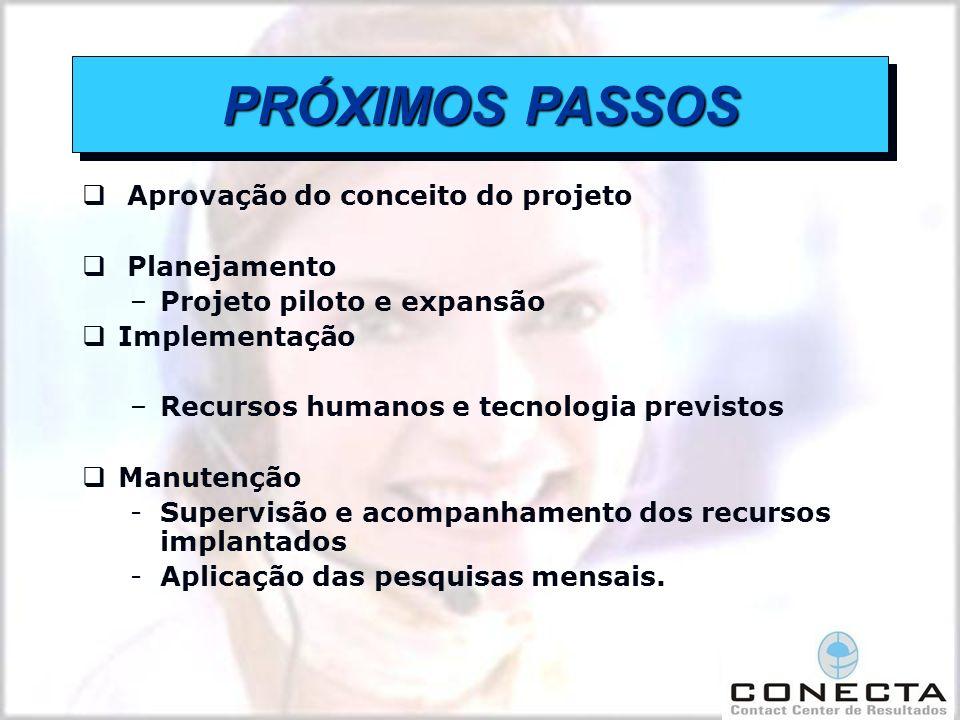 Aprovação do conceito do projeto Planejamento –Projeto piloto e expansão Implementação –Recursos humanos e tecnologia previstos Manutenção -Supervisão e acompanhamento dos recursos implantados -Aplicação das pesquisas mensais.