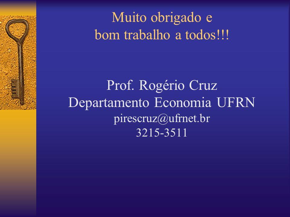 Muito obrigado e bom trabalho a todos!!! Prof. Rogério Cruz Departamento Economia UFRN pirescruz@ufrnet.br 3215-3511