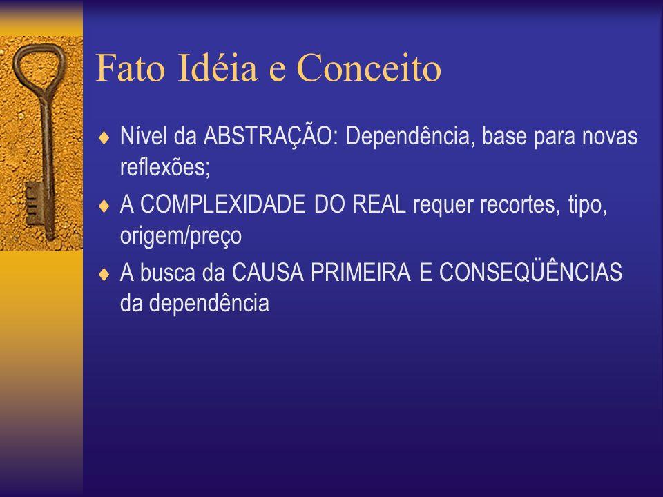 Fato Idéia e Conceito Nível da ABSTRAÇÃO: Dependência, base para novas reflexões; A COMPLEXIDADE DO REAL requer recortes, tipo, origem/preço A busca da CAUSA PRIMEIRA E CONSEQÜÊNCIAS da dependência