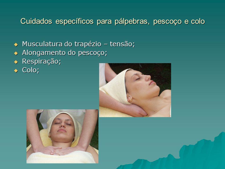 Cuidados específicos para pálpebras, pescoço e colo Musculatura do trapézio – tensão; Musculatura do trapézio – tensão; Alongamento do pescoço; Alonga