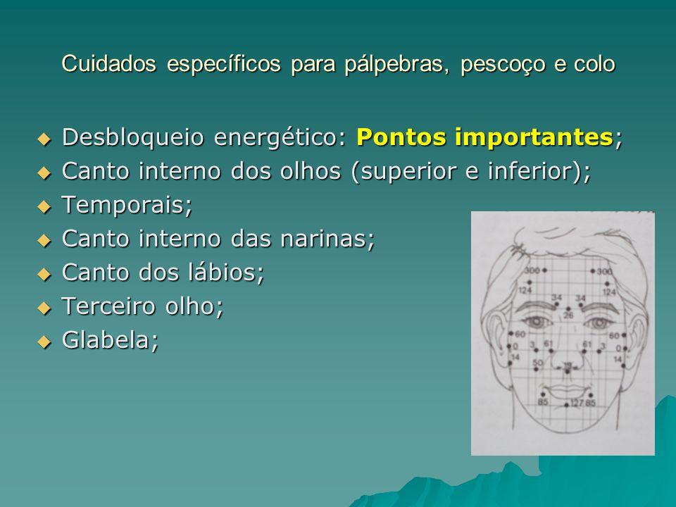 Cuidados específicos para pálpebras, pescoço e colo Desbloqueio energético: Pontos importantes; Desbloqueio energético: Pontos importantes; Canto inte