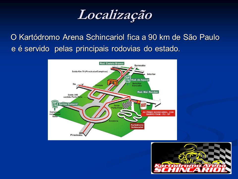 Localização O Kartódromo Arena Schincariol fica a 90 km de São Paulo e é servido pelas principais rodovias do estado.