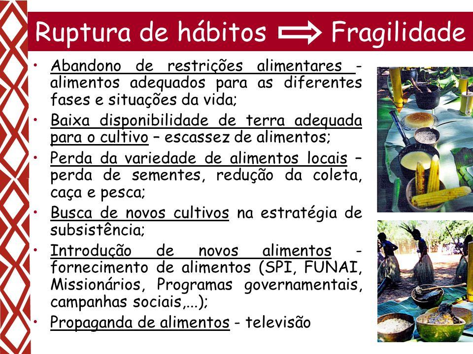 11 Ruptura de hábitos Fragilidade Abandono de restrições alimentares - alimentos adequados para as diferentes fases e situações da vida; Baixa disponi