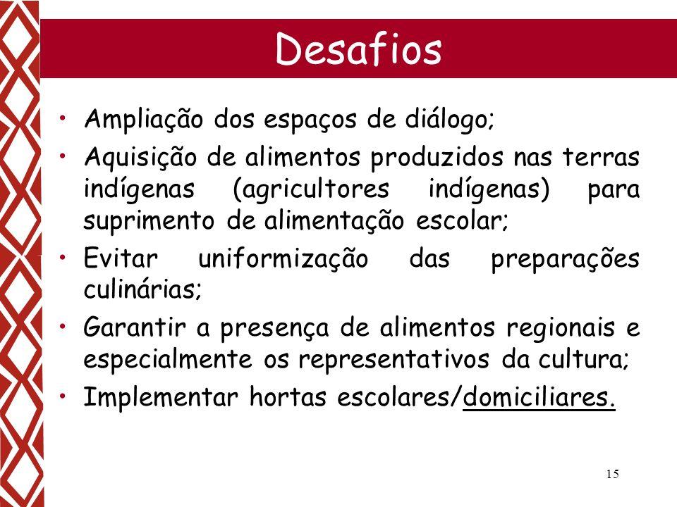 15 Desafios Ampliação dos espaços de diálogo; Aquisição de alimentos produzidos nas terras indígenas (agricultores indígenas) para suprimento de alime