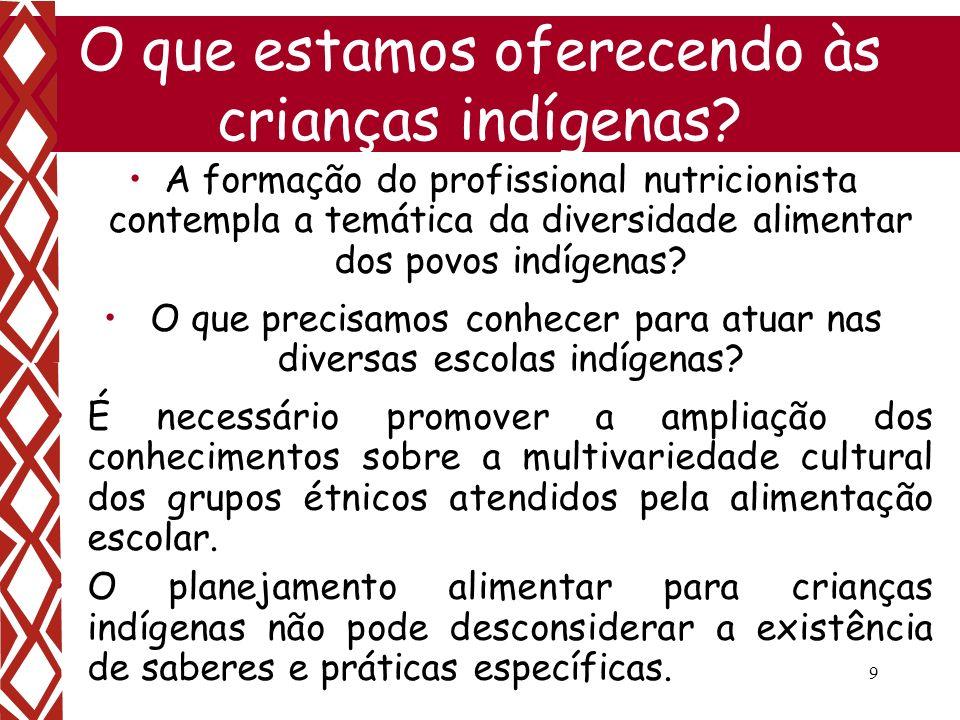 9 O que estamos oferecendo às crianças indígenas? A formação do profissional nutricionista contempla a temática da diversidade alimentar dos povos ind