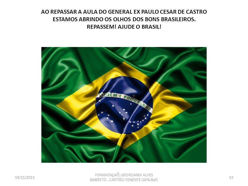 Marinheiros, soldados e aviadores, da ativa e da reserva, avante! Marchemos coesos, unidos e com destemor sendo Força Armada. Brasil, acima de tudo! G