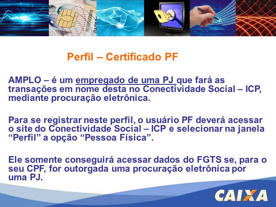 AMPLO – é um empregado de uma PJ que fará as transações em nome desta no Conectividade Social – ICP, mediante procuração eletrônica. Para se registrar