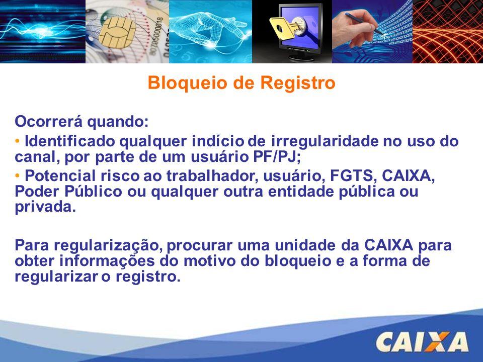 Bloqueio de Registro Ocorrerá quando: Identificado qualquer indício de irregularidade no uso do canal, por parte de um usuário PF/PJ; Potencial risco