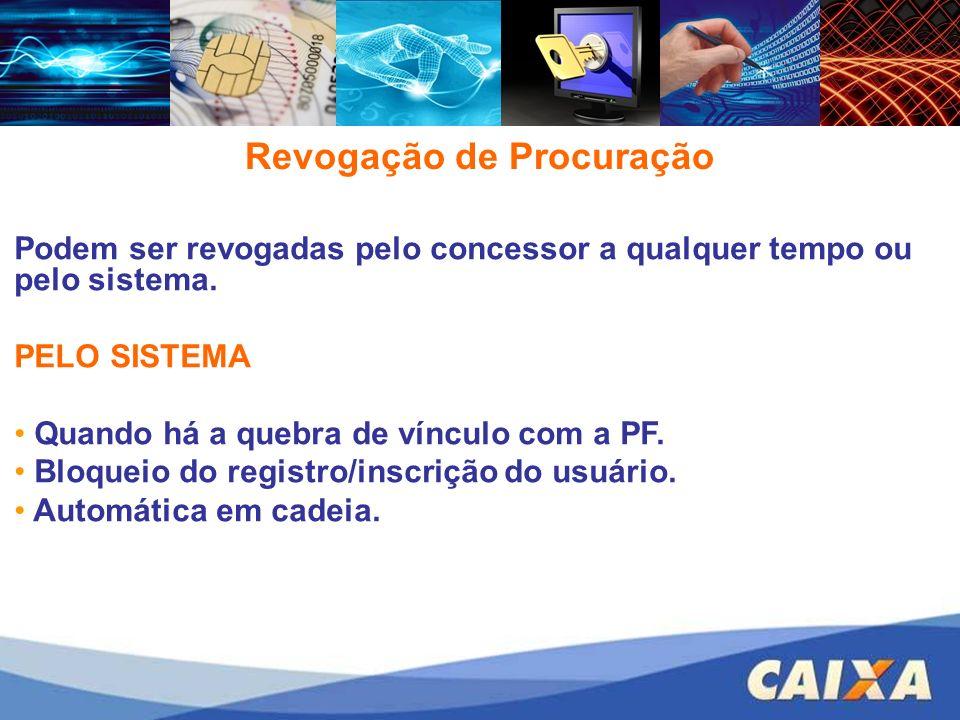 Revogação de Procuração Podem ser revogadas pelo concessor a qualquer tempo ou pelo sistema.