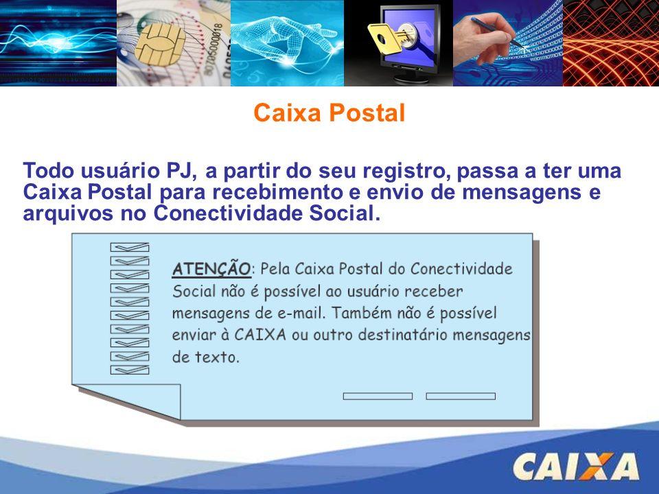 Caixa Postal Todo usuário PJ, a partir do seu registro, passa a ter uma Caixa Postal para recebimento e envio de mensagens e arquivos no Conectividade Social.