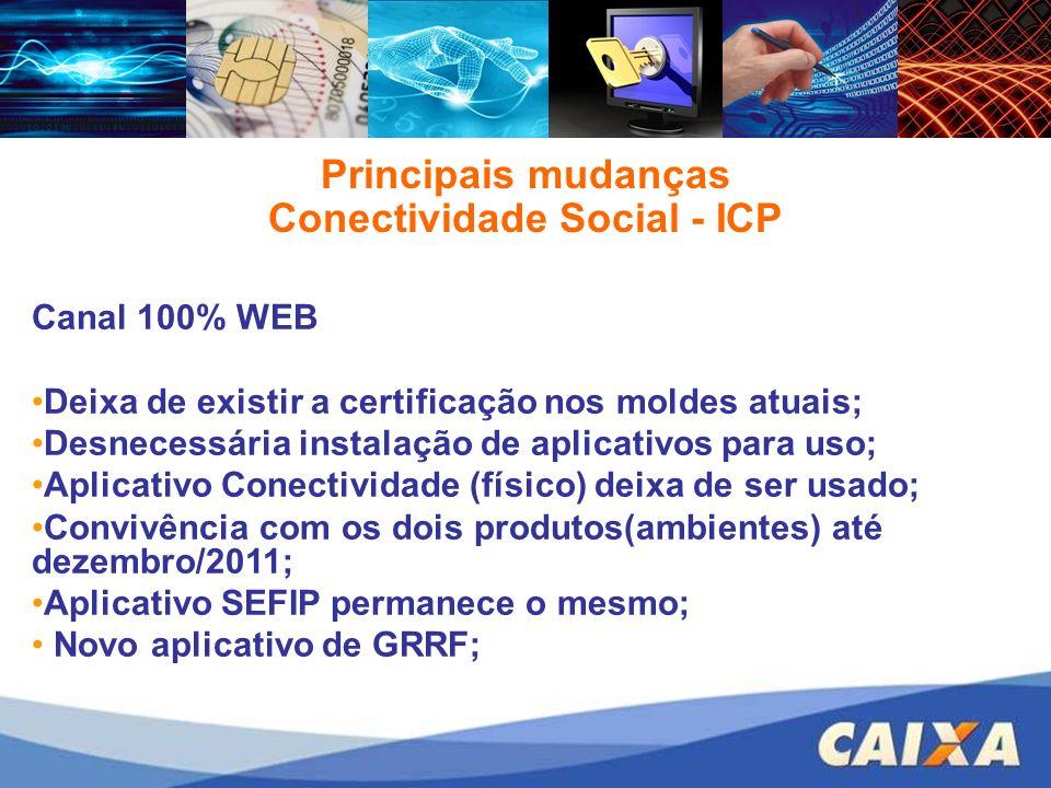 Principais mudanças Conectividade Social - ICP Canal 100% WEB Deixa de existir a certificação nos moldes atuais; Desnecessária instalação de aplicativ