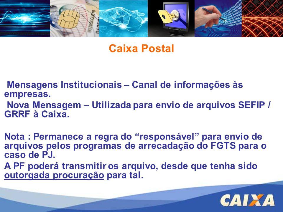 Caixa Postal Mensagens Institucionais – Canal de informações às empresas. Nova Mensagem – Utilizada para envio de arquivos SEFIP / GRRF à Caixa. Nota