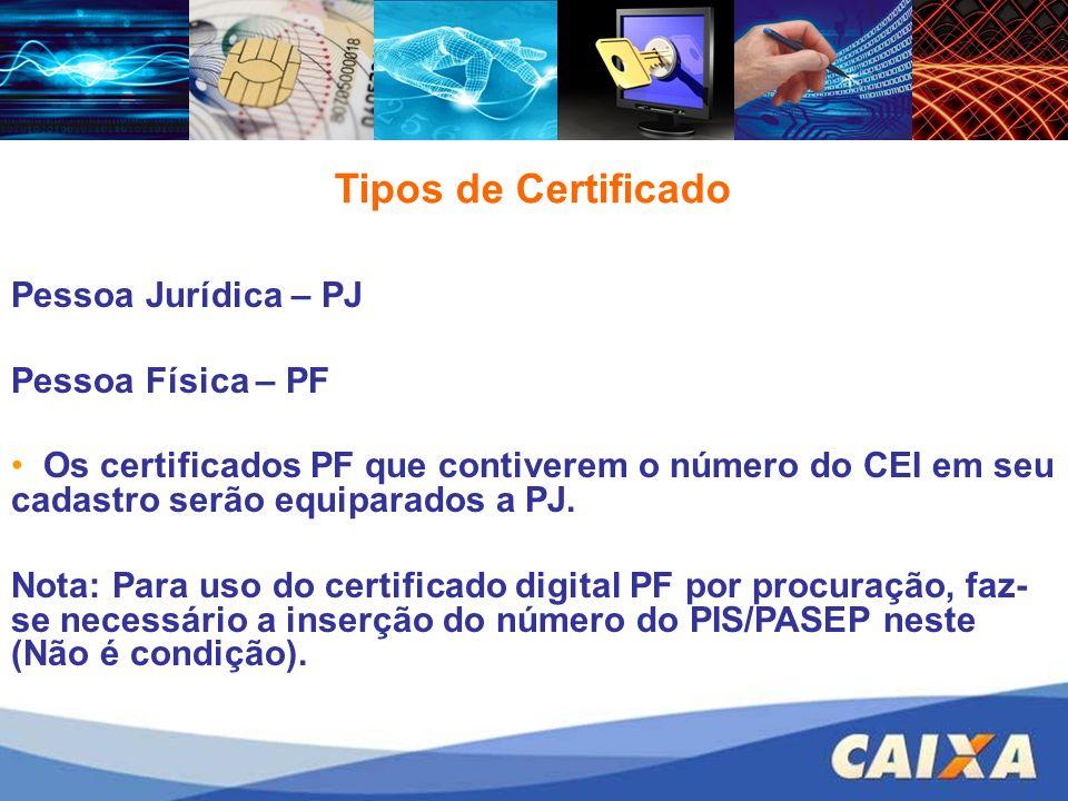 Pessoa Jurídica – PJ Pessoa Física – PF Os certificados PF que contiverem o número do CEI em seu cadastro serão equiparados a PJ. Nota: Para uso do ce