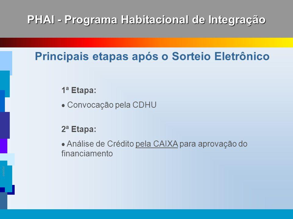 eseiler 1ª Etapa: Convocação pela CDHU 2ª Etapa: Análise de Crédito pela CAIXA para aprovação do financiamento Principais etapas após o Sorteio Eletrô