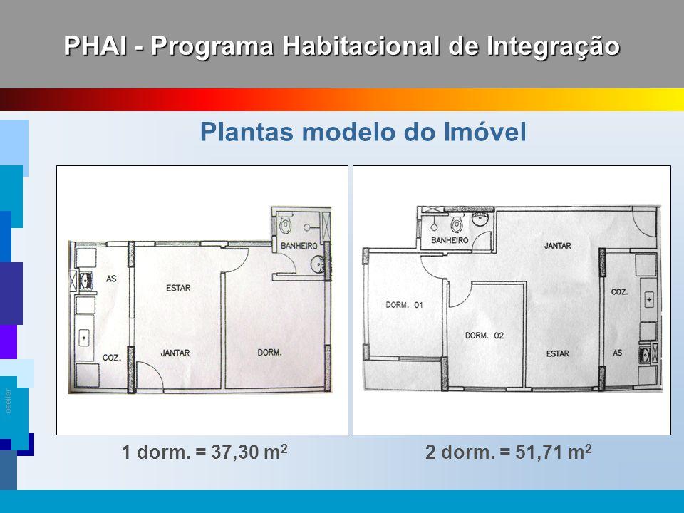 eseiler PHAI - Programa Habitacional de Integração 1 dorm. = 37,30 m 2 Plantas modelo do Imóvel 2 dorm. = 51,71 m 2