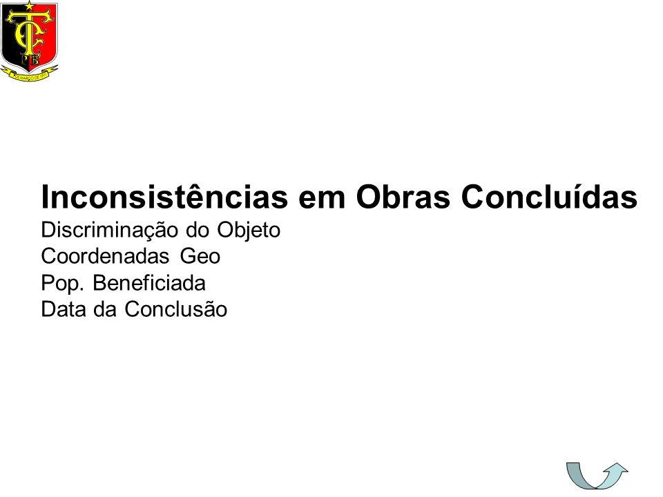 Inconsistências em Obras Concluídas Discriminação do Objeto Coordenadas Geo Pop. Beneficiada Data da Conclusão