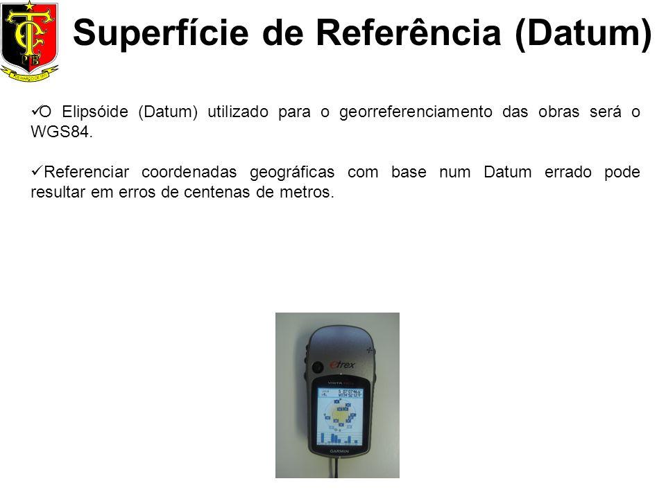 Superfície de Referência (Datum) O Elipsóide (Datum) utilizado para o georreferenciamento das obras será o WGS84. Referenciar coordenadas geográficas