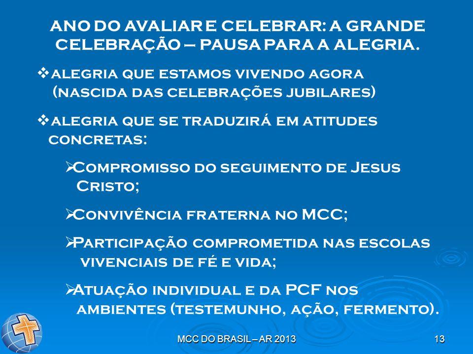 MCC DO BRASIL – AR 201313 ANO DO AVALIAR E CELEBRAR: A GRANDE CELEBRAÇÃO – PAUSA PARA A ALEGRIA. alegria que estamos vivendo agora (nascida das celebr