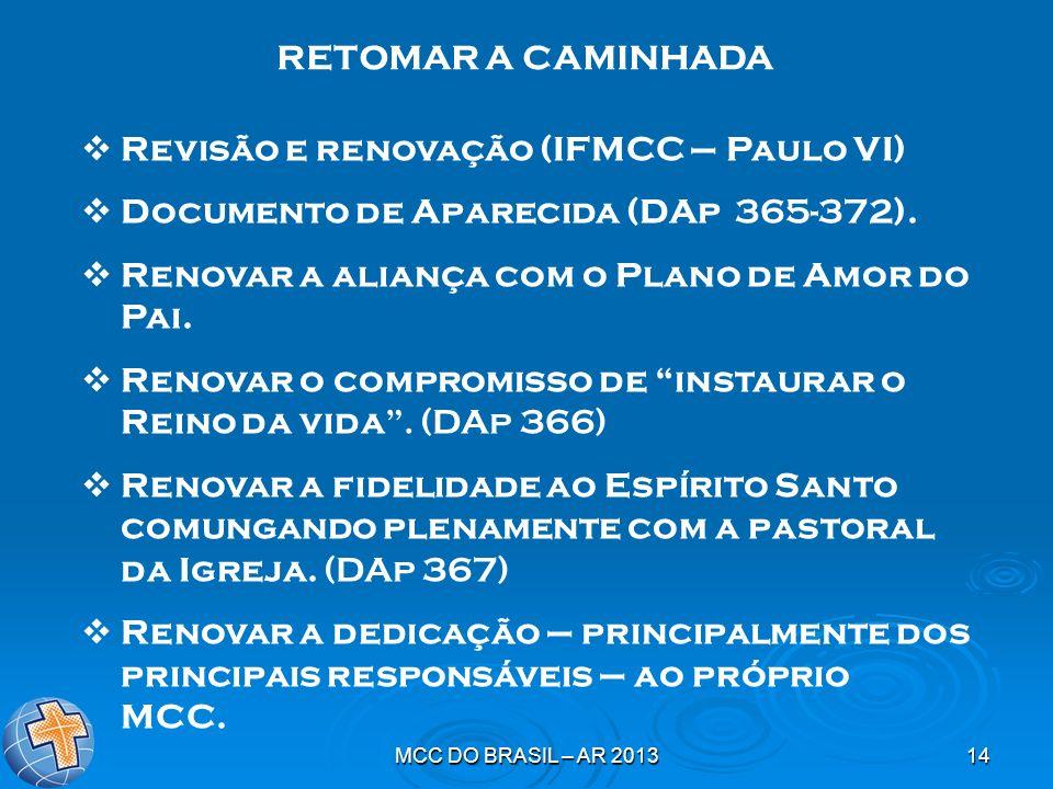 MCC DO BRASIL – AR 201314 Revisão e renovação (IFMCC – Paulo VI) Documento de Aparecida (DAp 365-372). Renovar a aliança com o Plano de Amor do Pai. R