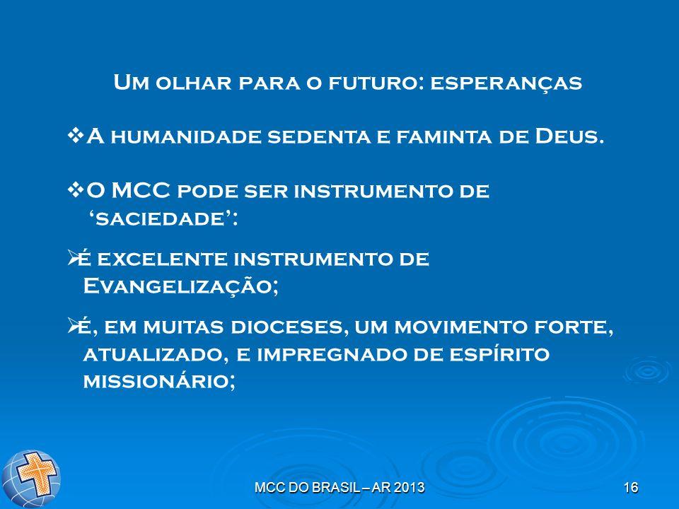 MCC DO BRASIL – AR 201316 Um olhar para o futuro: esperanças A humanidade sedenta e faminta de Deus. O MCC pode ser instrumento de saciedade: é excele